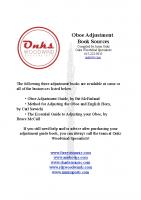 Oboe Adjustment Book Sources 1:15